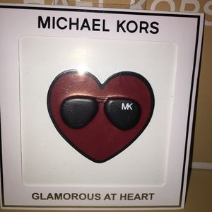 NWT - MICHAEL KORS LUXE LEATHER  HEART STICKER